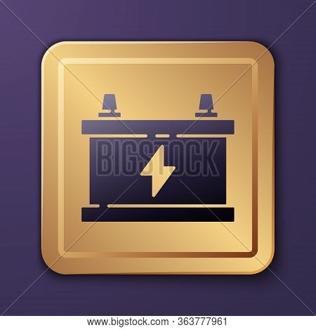 Purple Car Battery Icon Isolated On Purple Background. Accumulator Battery Energy Power And Electric