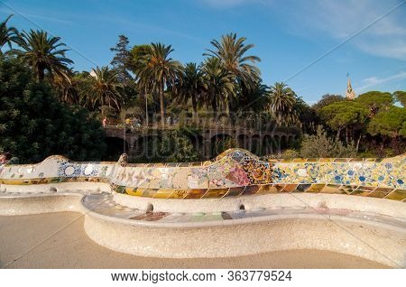 Large Undulating Seating Area In Centre Of Guell Park, Barcelona.