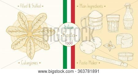 Cooking Italian Food Stuffed Culugrione Pasta With Filling And Main Ingredients And Pasta Makers Equ