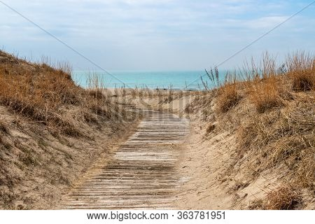 Wooden Path Through The Sand Dunes To Lake Huron At Sauble Beach, Ontario, Canada