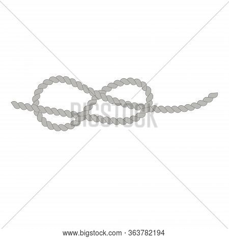 A Knot Of Rope.flat Illustration.sea Knot.twisted Wire Rope.vector Image.