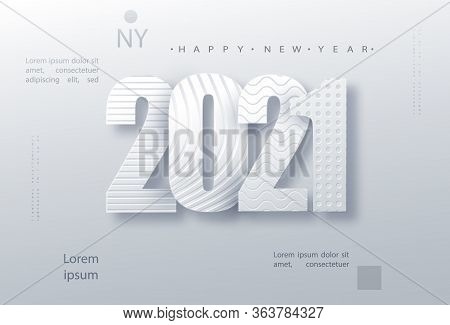 Modern Paper Art Design Template With 2021 For Concept Design. Holiday Christmas Background. 2021 Ne
