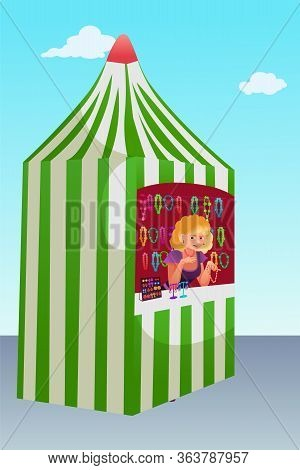Fair Tent With Souvenirs Flat Vector Illustration. Street Market Vendor Selling Handmade Jewelry. St