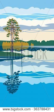 Vertical Abstract Illustration Of A Forest Lake In The Evening. Beautiful Expanse Of Water With Refl