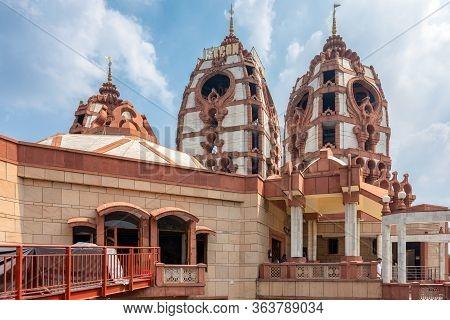 Delhi / India - October 2, 2019: Iskcon Delhi Hindu Temple Of Lord Krishna In New Delhi, India