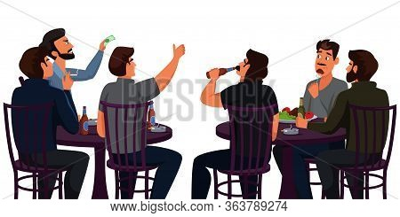 Show Spectators Flat Vector Illustration. Male Nightclub Visitors Sitting At Tables Cartoon Characte