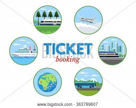 Ticket Selling Vector Banner Template. Booking Office Flat Illustration. Convenient Transport Servic