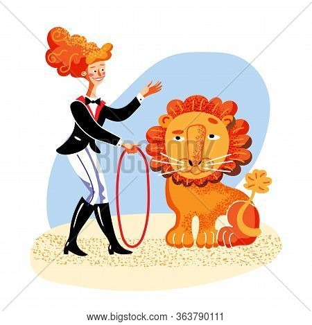 Lion Tamer Flat Color Vector Illustration. Happy Woman In Carnival Outfit Holding Whip Cartoon Chara