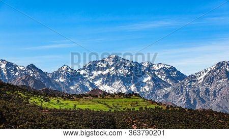 Morocco  High Atlas Mountain Range. Morocco  High Atlas Mountain Range. Springtime. Blue Sky. Bright