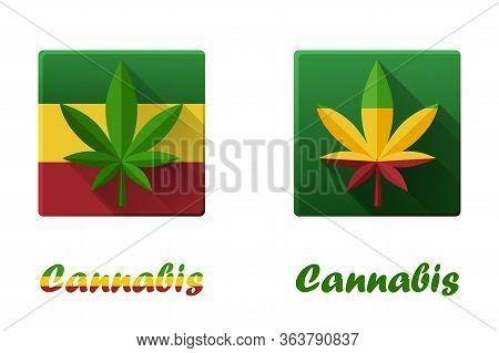Set Of Square Icons With Cannabis, Hashish And Marijuana.