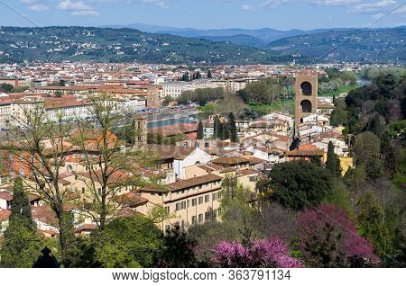 Panoramic View Of Florence From Boboli Gardens. Tuscany, Italy.
