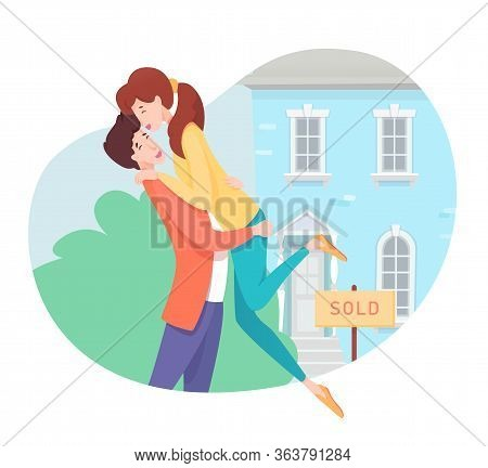 Cheerful Smiling Man And Woman Couple In Love Hugging Buying New House Real Estate On Sale Cartoon.