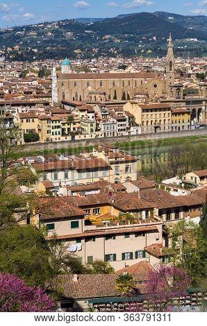 Basilica Of Santa Maria Novella And River Arno. Florence, Italy.
