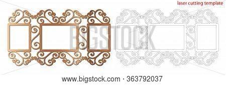 Laser Cut Photo Frame With Ornamental Swirl For Decoration Design. Laser Cut Wood Or Metal Lace Fram