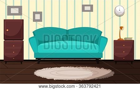 Living Room Modern Interior Vector Illustration. Azure Cozy Sofa With Cushions Flat Drawing. House P