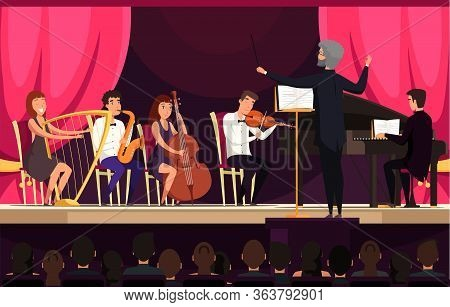 Orchestra Performance On Stage Vector Illustration. Concert In Hall, Cultural Event Concept. Musical