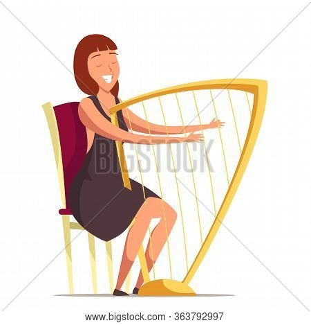 Smiling Harpist Flat Vector Illustration. Orchestra Performer With Harp Cartoon Character. Woman Pla