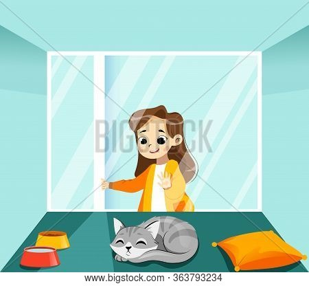 Concept Of Animal Shelter And Help Domestic Homeless Animals. Kind Girl Volunteer Going To Adopt Kit