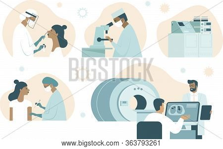 Coronavirus Covid-19 Illustration Set. Doctor Making Nasal Swab Test. Lab Assistant Examinesample W
