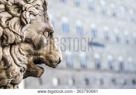 Marble Sculpture Of The Medici Lion. Florence, Italy.