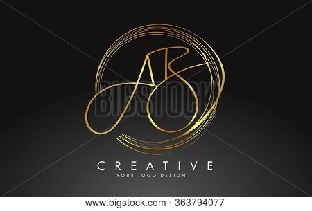Handwritten Golden Ab A B Letters Logo With A Minimalist Design. Ab A B Sign With Golden Circular Ci