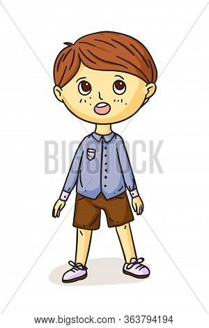 Pretty Preschool Boy Singing Song Standing. Little Male Choral Artist Isolated On White. Choir Vocal
