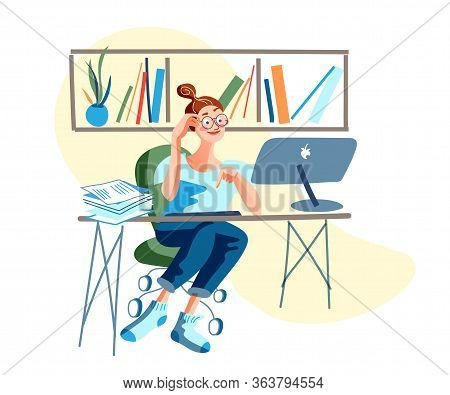 Young Woman Freelancer Working At Computer At Home. Housewife And Distant Work. Mother Parent And Re