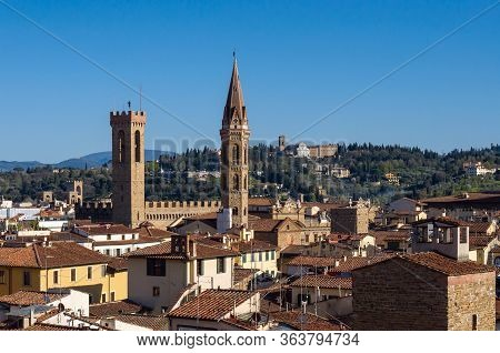 Palazzo Del Bargello And Badia Fiorentina. Florence, Italy.