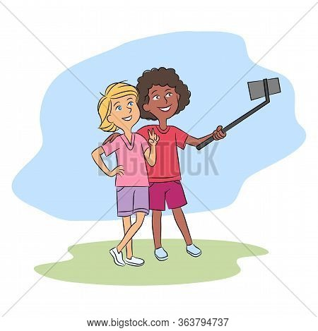 Multiracial Teenager Friends Taking Selfie Together Via Smartphone On Selfie-stick. Afro-american An