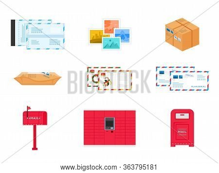 Postal Delivery Service Icons And Objects Set. Cartoon Package And Parcel, Postmark And Envelops, Le