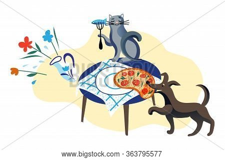 Dog Stealing Pizza From Table. Cat Eating Fish From Fork On Desk. Hungry Samoyed Domestic Animals. F