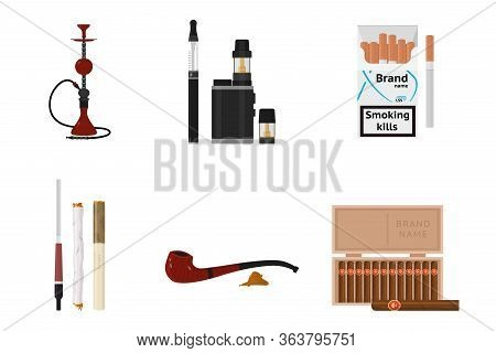 Traditional Smoking Accessories And Tobacco Products Flat Set. Cigars, Cigarettes, Hookah, Vapes, Mo