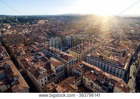 Piazza Della Repubblica And Orsanmichele. Aerial View. Florence.