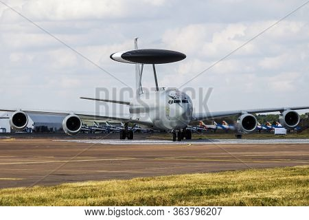 Fairford / United Kingdom - July 12, 2018: Royal Air Force Boeing E-3d Awacs Zh103 Airborne Command