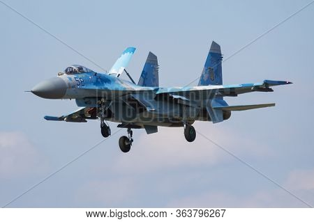 Fairford / United Kingdom - July 12, 2018: Ukrainian Air Force Sukhoi Su-27p Flanker 58 Fighter Jet