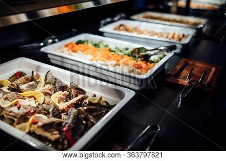Variety Of Healthy Dishes Decorated And Served For A Special Occasion Celebration Buffet Dinner.medi