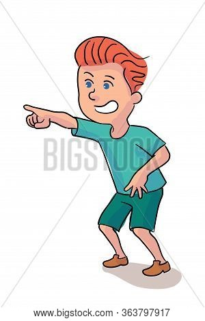 Little Boy Pointing To Invisible Amazing Thing. Cartoon Preschooler Child Character. Positive Emotio