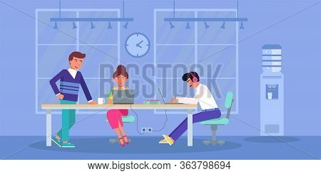 Coworkers Freelancer Team Share Open Office Space. Man In Headphones And Woman Working At Laptop Sit