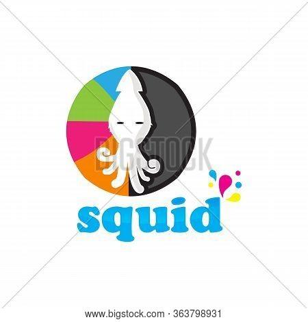 Happy Squid Character Mascot, Squid Vector Logo Template