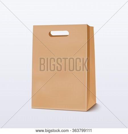 Empty Brown Shopping Bag For Advertising And Branding. Vector Illustration Eps 10