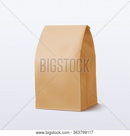 Brown Paper Bag On White Background. Vector Illustration. Eps 10