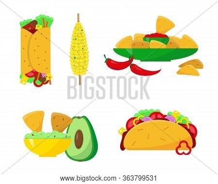Mexican Food Set Vector Illustration. Burrito, Tacos, Nachos, Guacamole And Corn Icons On White Back