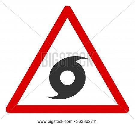 Vector Hurricane Warning Flat Icon. Vector Pictogram Style Is A Flat Symbol Hurricane Warning Icon O