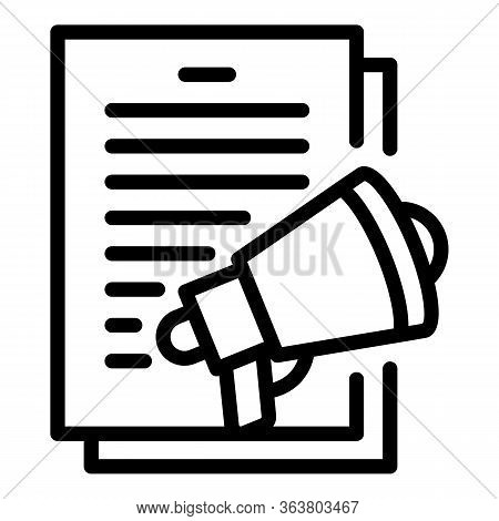 Announce Megaphone Icon. Outline Announce Megaphone Vector Icon For Web Design Isolated On White Bac