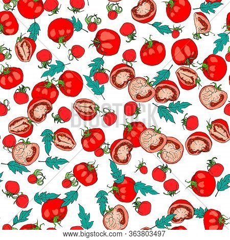 Seamless Pattern Of Sketches With Cut Tomato, Slice Of Tomato And Tomatoes Isolated On White Backgro