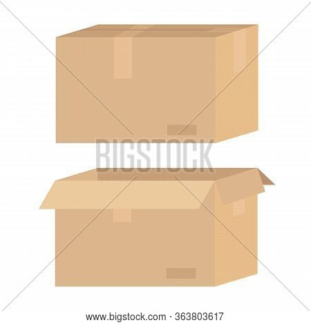 Brown Cardboard Box Opened And Closed. Delivery, Transportation, Post Concept. Stock Vector Illustra