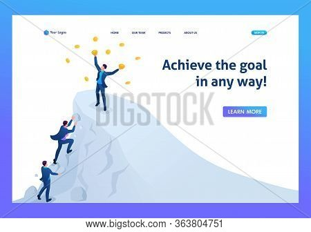 Isometric Achieve Success, To Achieve The Goal, To Be On Top Of The Mountain. Landing Page Concepts