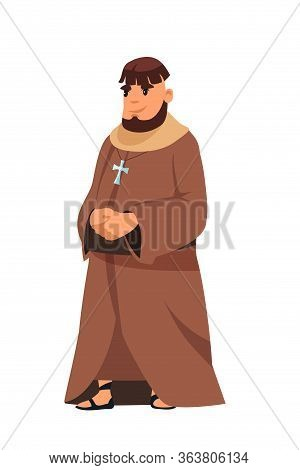 European Medieval Catholic Priest In Cassock With Gold Cross On Necklace Standing Isolated On White.