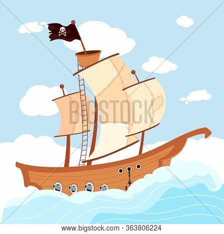 Cartoon Pirate Ship Sailing In Sea Or Ocean. Buccaneer Boat With White Sails And Black Flag Decorate