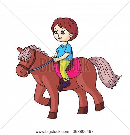 Smiling Little Boy Character Riding Horse Isolated On White. Happy Cute Cartoon Kid In Saddle On Hor